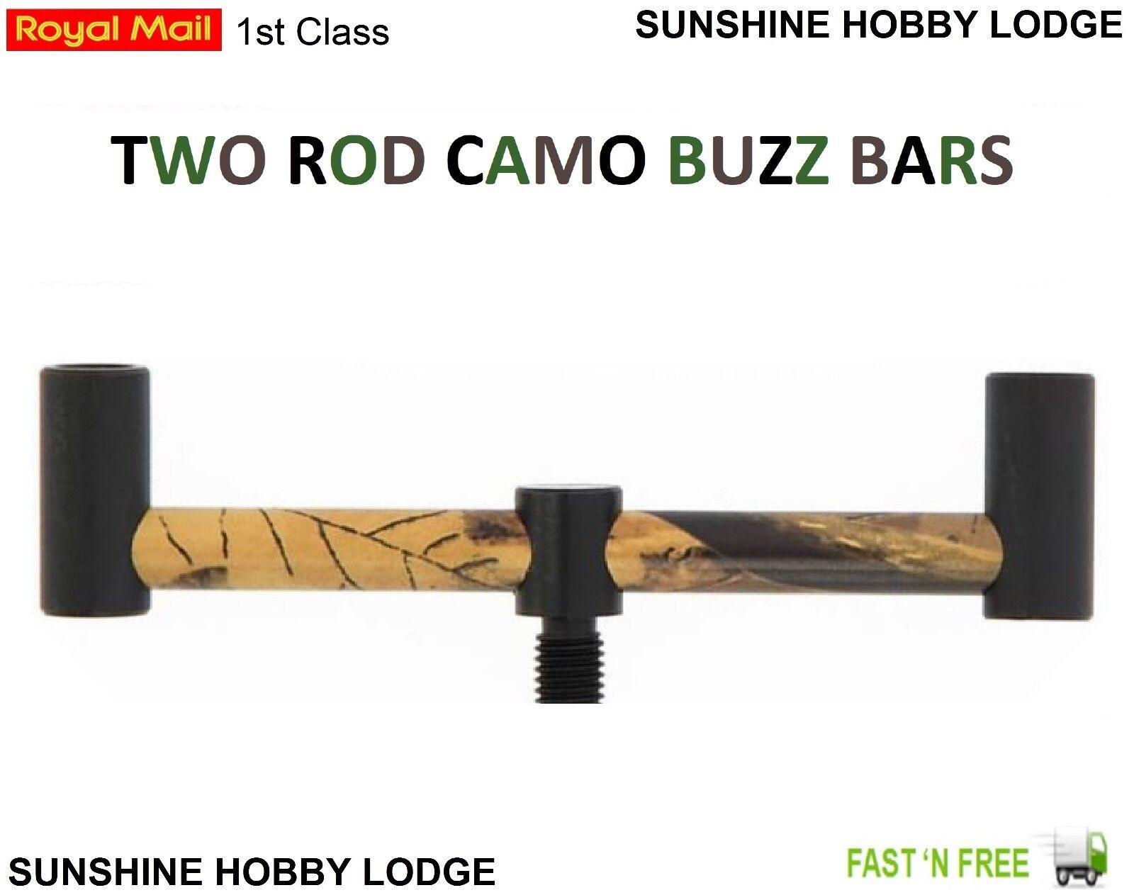 Carp Coarse Fishing Aluminium 130mm Two Rod Buzz Bars Rod Rest Buzzer Bar 2 Post