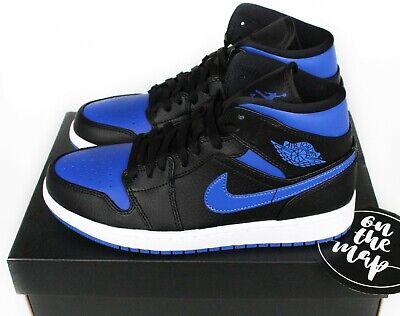 Nike Air Jordan 1 Retro Mid Black Hyper Royal Blue White UK 5 6 7 8 9 US New