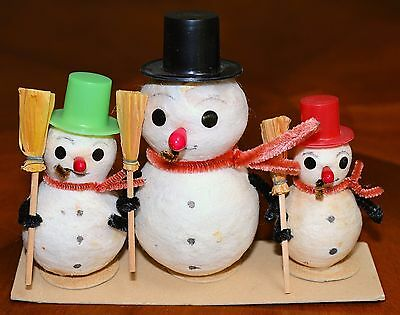 UNUSED Vintage SPUN COTTON CHENILLE SET/3 SNOWMEN SNOWMAN Putz Christmas JAPAN