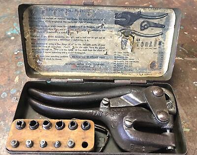Sheet Metal Punch Vintage Roper Whitney No.5 Jr. Case Dies Patent 5-24-13 1924