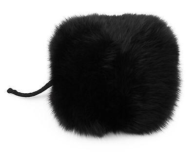 Fur Muff Fox Black Hand Warmer Satin Lining Interior Zipper Pocket Soft  Lined Hand Warmer Pockets