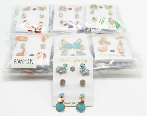 Wholesale 12 Trio Set Earrings Butterflies Solitaires #MC34015