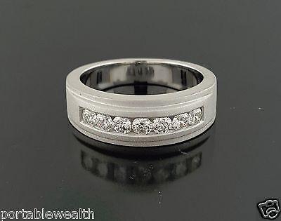 - Round Diamond 14K White Gold Wedding Band Ring Sandblast Finish Gents