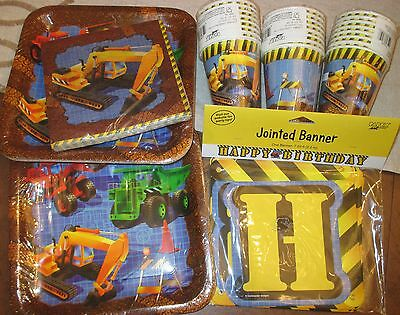 Boys UNDER CONSTRUCTION Birthday PARTY Set TRUCKS Backhoe BANNER 16 PLATES, CUPS
