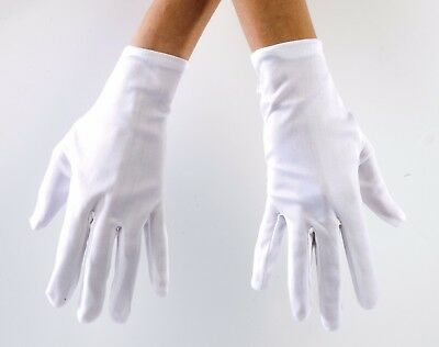 Halloween Gloves White Costume Theatrical Adult Unisex Polyester Stretch Glove](Halloween Gloves)