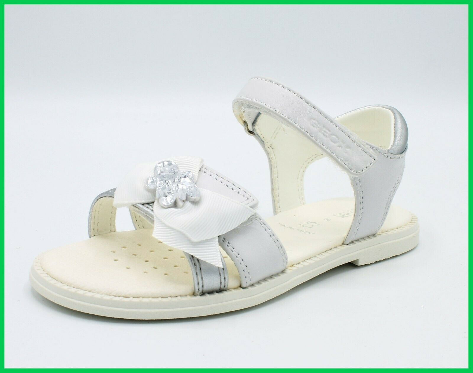 Geox Sandals Baby Leather Shoes for Ceremony Elegant Holy Communion Sandal