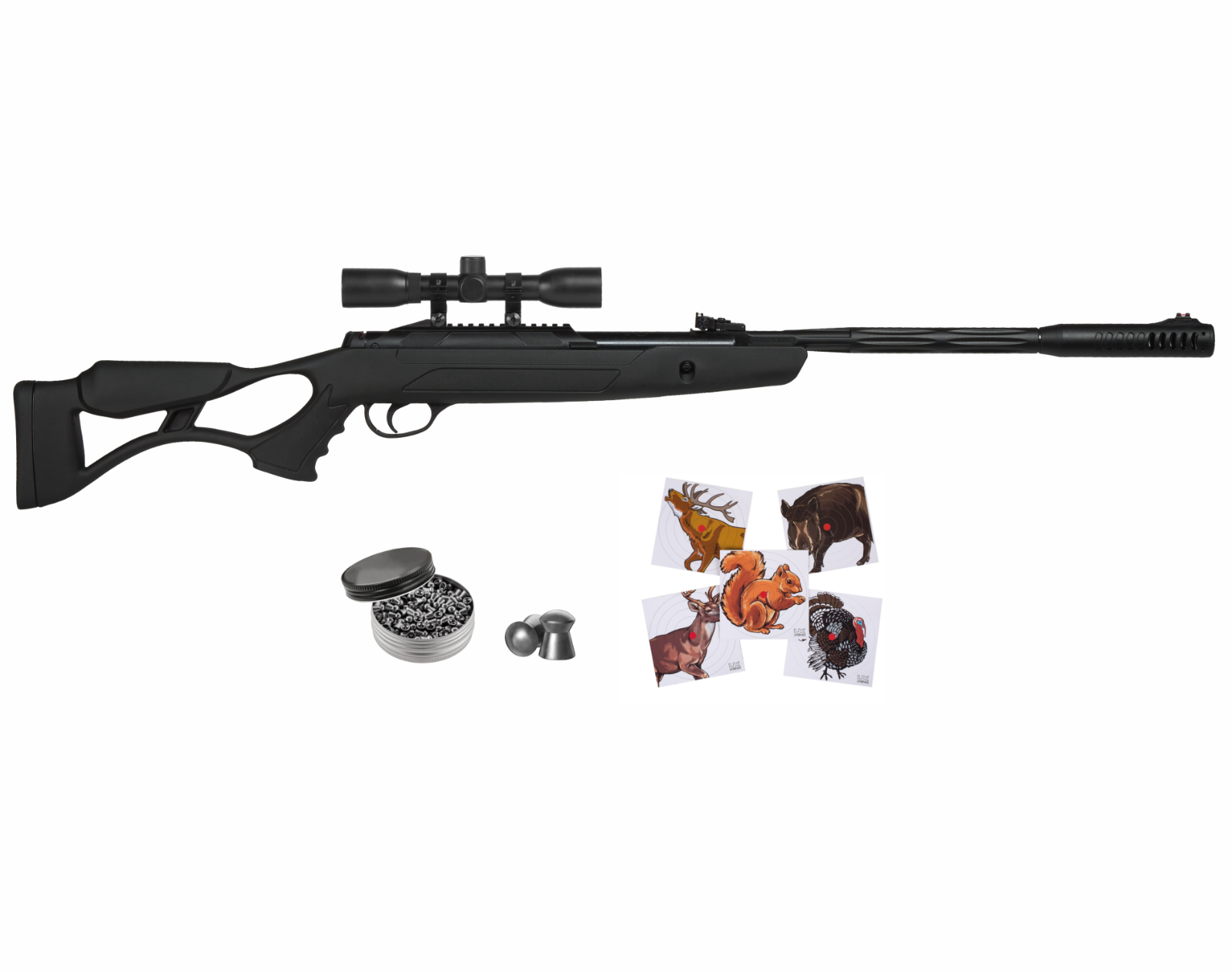 Hatsan AirTact ED Combo Air Rifle and 100x Paper Targets and Lead Pellets Bundle
