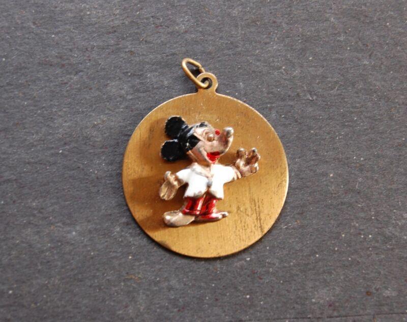 "Mickey Mouse Pendant 3D Vintage Cold Painted Walt Disney Productions WDP 1 1/4"""