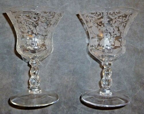 2 Cambridge Etched Glass Chantilly Oyster/Fruit Cocktail Goblets Stems 3625 3600
