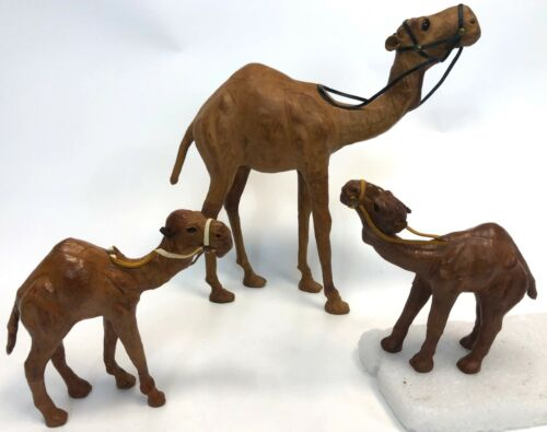 "Lot of 3 Middle Eastern Handmade Home Nativity 13"" & 7"" Leather Camels Figures"