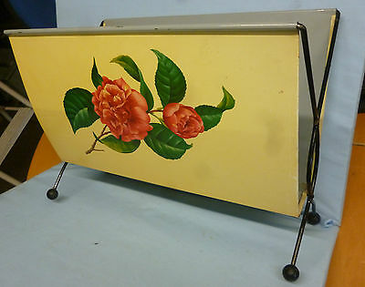 50's/60's Original Retro Metal Magazine Rack Atomic Sputnik Floral Red Rose