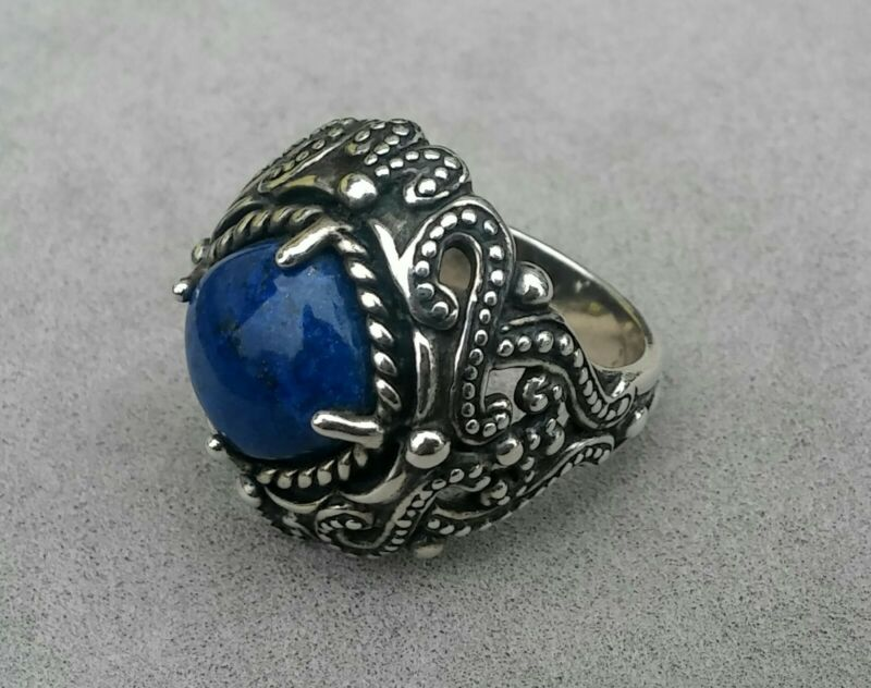 Vintage Ornate Blue Lapis Lazuli Cabochon Sterling Silver Ladies Ring