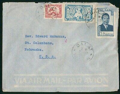 Mayfairstamps Vietnam 1940s Dalat to Nebraska Commercial Airmail Cover wwo88739