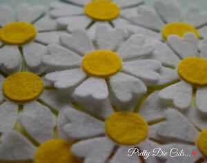 Felt Daisy Flowers (10) Die Cut Daisies Craft Embellishments