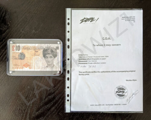 Banksy Di-Faced Tenner Authentic COA + Receipt + Provenance from Dope! Gallery