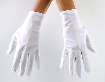 Adult Short White Gloves Halloween Costume Gangster Robber Magician Womens Mens - White Magician Gloves