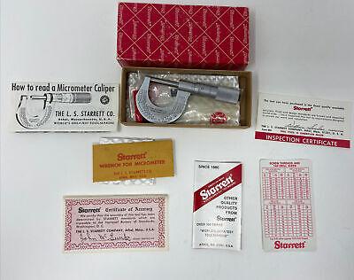 L.s. Starrett 1 No. 230p Micrometer Caliper W Wrench Complete In Box
