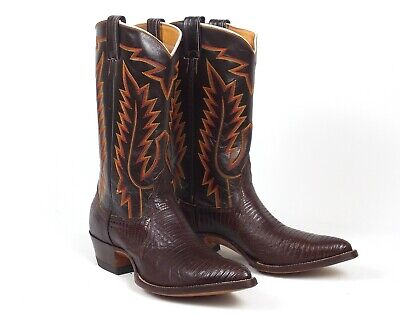 New Nocona Brown Lizard Cowboy Boots - Mens Size 11D J-Toe Chocolate Brown Chocolate Lizard Boots