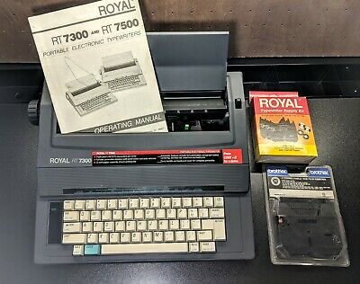 Royal Rt7300 Portable Electronic Typewriter W 4 Film Ribbons 2 Lift-off Tapes