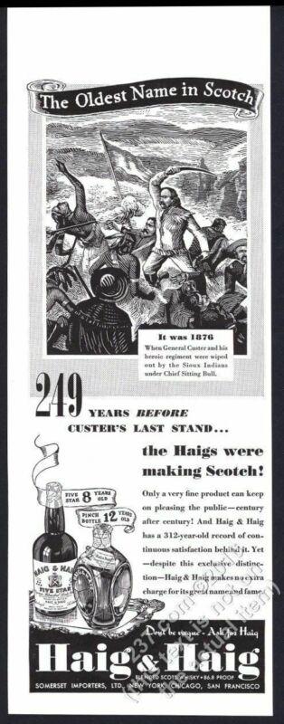 1940 General Custer vs Sitting Bull Haig & Haig Scotch whisky vintage print ad