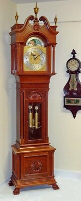 Monumental J.E. Caldwell Tall Case Grandfather Clock Carved Mahogany Case 8 day