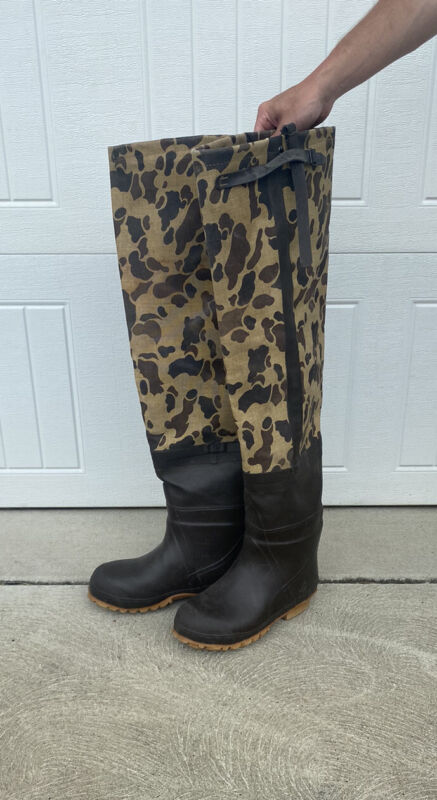 VINTAGE cabelas brush buster CAMO HUNTING FISHING TALL boots waders MADE USA 10
