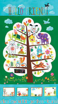 "MODA Fabric Quilt Panel ~ HELLO FRIEND ~ by Abi Hall (352710 11) 24"" X 45"" for sale  Shipping to India"