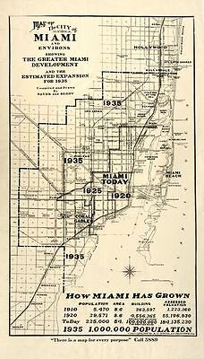 HUGE Greater MIAMI Florida MAP 1935 Vintage Print Poster Lauderdale Dade Broward
