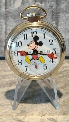 Mickey Mouse Vintage 1970s Mechanical Hand Wind Pocket Watch by Bradyley Works!