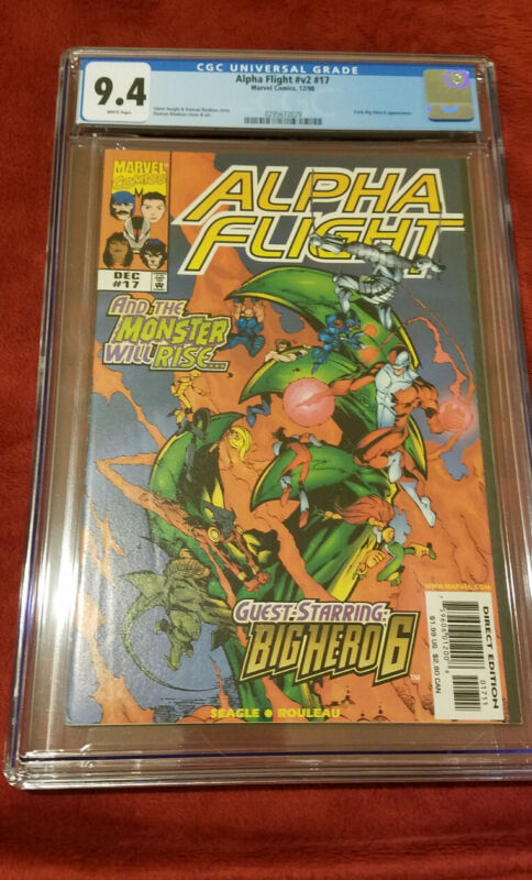 Alpha Flight Vol 2 #17 Key CGC 9.4 NM+ 1st Big Hero 6 Baymax X-men Disney Marvel