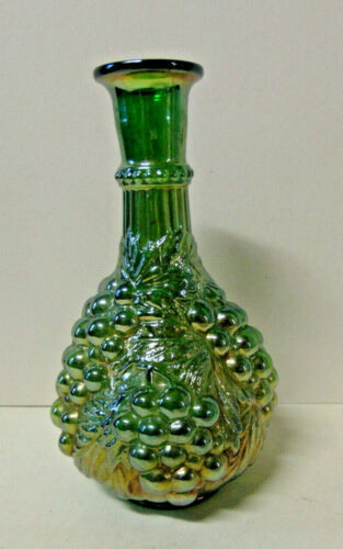 Vintage Imperial Green Carnival Glass Grape Cluster Decanter - No Stopper