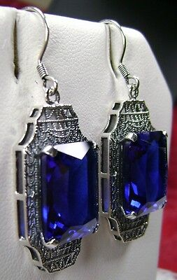 18ct *Sapphire* Art Deco Filigree 1930s Sterling Silver Earrings {Made to Order}