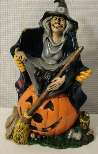 Vintage Witch Pumpkin Black Cat Ceramic Halloween Decoration No Light