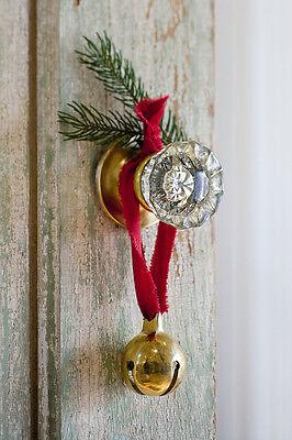 Brass Christmas Bell Jingle Bells Santa Sleigh Bells. Door Hanger w/ Ribbon, New - Jingle Bells Christmas Door