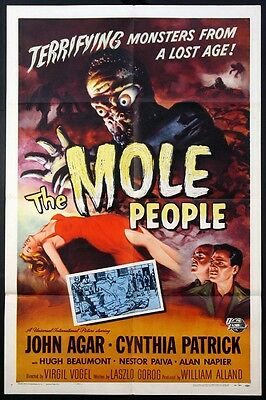 THE MOLE PEOPLE JOHN AGAR UNIVERSAL HORROR 1956 1-SHEET