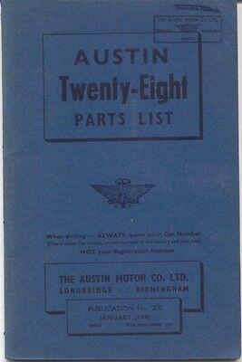 Austin Twenty Eight 28 original Parts List Jan 1946 No. 200 UNILLUSTRATED