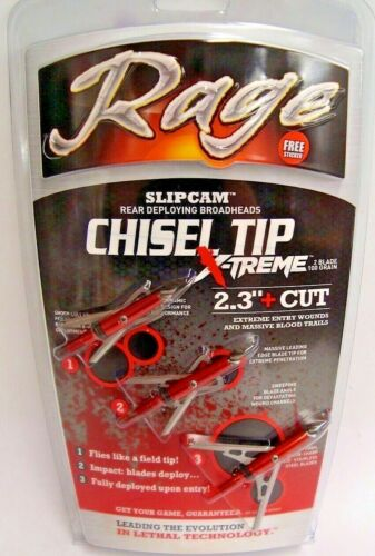 "Rage Chisel Tip X-treme 100 Grain Broadheads 2.3"" Cut - R55100"