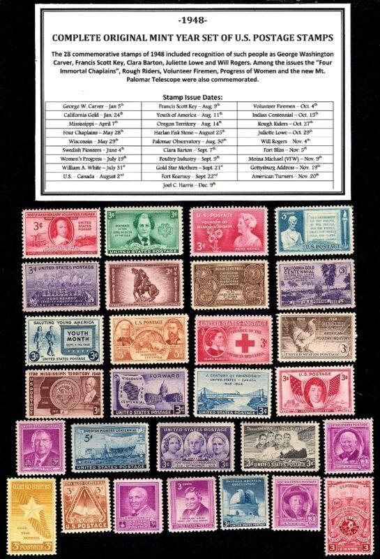 1948 COMPLETE YEAR SET OF MINT -MNH- VINTAGE U.S. POSTAGE STAMPS