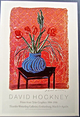 David Hockney Floral Poster Reprint  Bowl Of Flowers On Chair Unsigned 13X10