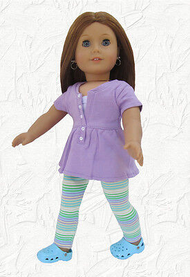 Doll Clothes Purple Top and Stripe Leggings fit American Girl and 18 inch dolls on Rummage