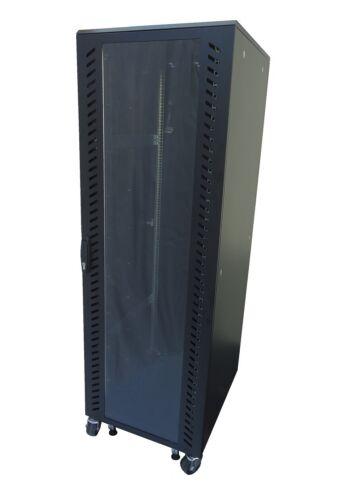 "36U 29"" D server cabinet rack glass front solid rear & side panel, W/1 shelf"