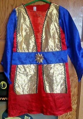 Knight Dressing Up Costume (Colourful knight tunic fancy dress dressing up costume red, blue, gold Age)