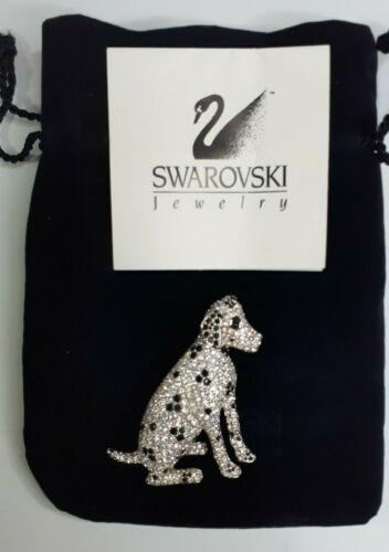 Swarovski Crystal Black & Silver Dalmatian Brooch Pin