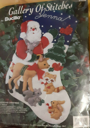 VINTAGE Jeweled Bucilla Woodland Christmas Stocking Kit