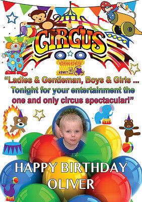 LARGE BIRTHDAY CIRCUS  POSTER BANNER PERSONALISED ANY NAME THEME TEXT WITH PHOTO