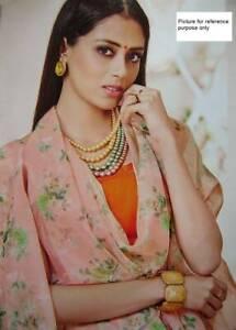 Indian Printed Organza Saree #LT 410 (Peach)