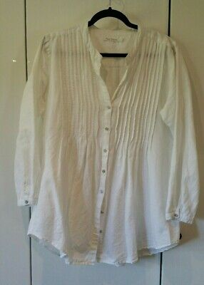 """Premium TWO DANES Pintucked white Linen Shirt. SzL. Ch approx 46"""""""