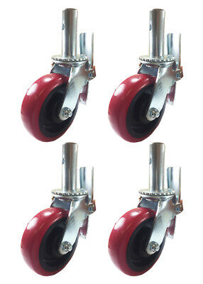4 Pcs Scaffold Caster 6 X 2 Red Pu Wheel Locking Brake 1-38 Stem 3600 Lbs.