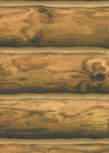 Log Wallpaper! Rustic Cabin Lodge CH 7980 Pre-Pasted Double Roll