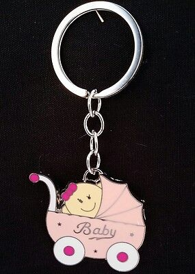 12 Baby Shower Favors Key Chains Girl Stroller, Carriage, Pink, Llaveros, Gift Baby Carriage Key Chains